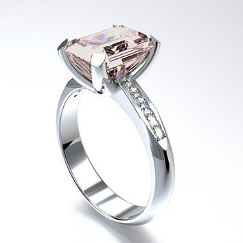 Morganite engagement ring, White Gold, Emerald cut morganite, Solitaire, Engagement ring, Diamond, pink