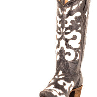 Corral Women's Antiqued Black/White Inlay Boot - A1965