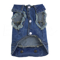 Fashion Apparel Denim Pet Dog Puppy Jacket Coats Clothing Sleeveless Clothes HOT