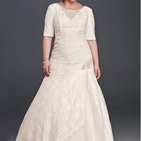 [216.99] Elegant Tulle & Lace Scoop Neckline Plus Size A-Line Wedding Dresses With Beadings - dressilyme.com