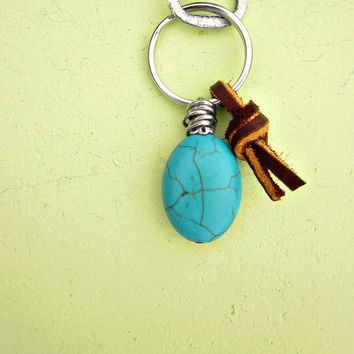 Silver Keyring or Purse Charm with Blue Turquoise and Brown Leather Knot: Caique