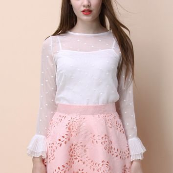 Merry Dots Sheer Top in White