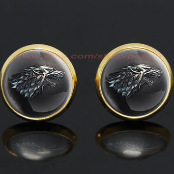 game of thrones house stark wolf gold plated stud post earrings,a song of ice and fire earrings,game of thrones jewelry