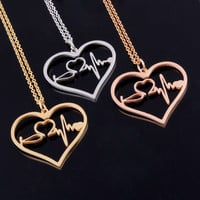 Nurse Medical Stethoscope Heartbeat Heart Charm Pendant Necklace 18K Rose Gold/Gold/Silver I Love You Jewelry Necklaces Bijoux