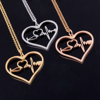 Heart Shaped Stethoscope EKG Necklace
