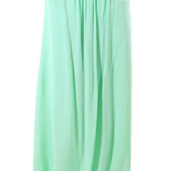 Chic Mint Elastic Waist Pleated Gauze Maxi Skirt with Lining