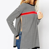 ASOS Tunic Sweater In Stripe With Side Splits