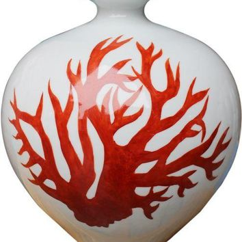 White Pomegranate Vase - Red Coral