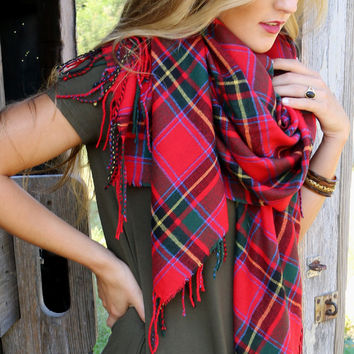 Warwick Castle Red Tartan Plaid Oversized Blanket Scarf