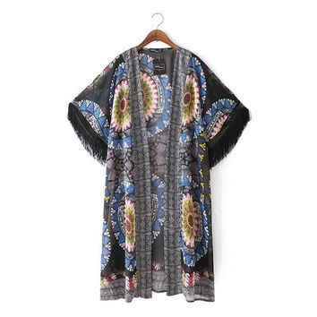 Stylish Vintage Print Tassels Chiffon Women's Fashion Tops Jacket [5013177220]