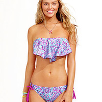 Hula Honey Ruffled Bandeau Bikini Top & Side-Tie Bottoms