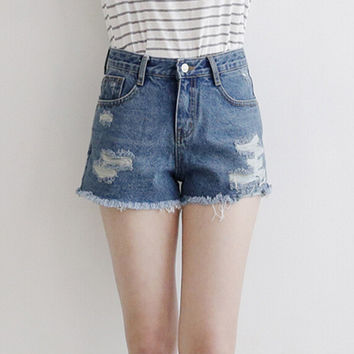Denim Frayed And Ripped High-Waisted Button Zippered Shorts