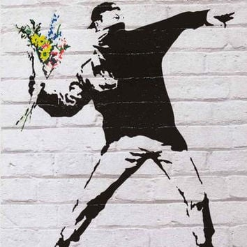 Banksy Flower Thrower Art Poster 24x36