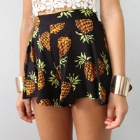 TROPICAL PINEAPPLE PRINTS HIGH WAISTED FLARE SKIRTY MINI BEACH SHORTS 6 8 10 12