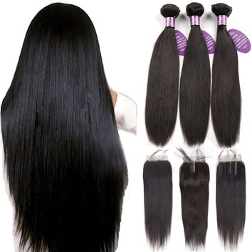 Queenlike Peruvian Hair Bundles With Closure Non Remy Weft 100% Human Hair 3 / 4 Bundles Straight Hair Bundles With Closure