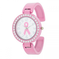 Breast Cancer Awareness Cuff Watch With Crystals