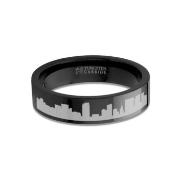 Honolulu City Skyline Cityscape Engraved Black Tungsten Ring