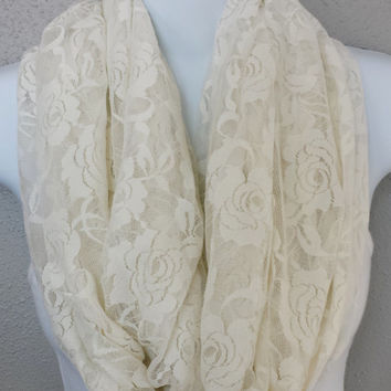 Romantic Cream Un-hemmed Lace Spring Infinity Scarf Stretchy Lace Fabric Scarf with Roses Womens Fashion Pastel Scarves Girls Infinity Scarf