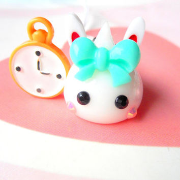 Alice In Wonderland Charm, White Rabbit Hoppe Chan, Tamagotchi, Kawaii Phone Charm, Kawaii Bunny Dust Plug, Nintendo 3DS, PS Vita