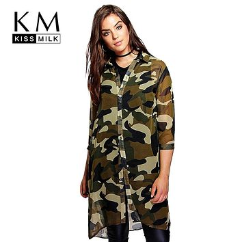Kissmilk Plus Size Women Chiffon Camo Camouflage Shirt Dress 3/4 Sleeve Boyfriend Longline Shirt Big Size Dress 3XL 4XL 5XL 6XL