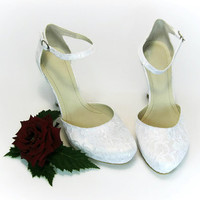 Handmade Wedding Lace ShoesBridal Shoes, Bridesmaid Shoes, Ivory Wedding Shoes, White Wedding Shoes, Prom Shoes, Evening Shoes
