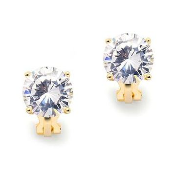 Bridal Basic Gold 3.5CT Clip On CZ Diamond Earrings
