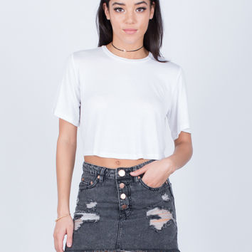 Vintage Wash Denim Skirt