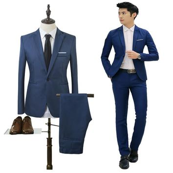 (Jacket+Pant) Men Blazer Suits High Quality Cotton Slim Fit Men Suit Terno Masculino Blazers Male Jacket, Suit Blazer