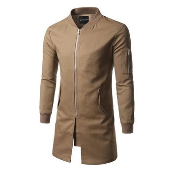 The fall of new men's casual fashion in the long coat size mens jacket coat color cloak tide