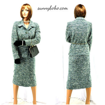 70s knit boucle skirt suit size M vintage 1970s Country Miss Kensington sweater dress suit mod retro mad men secretary suit SunnyBohoVintage