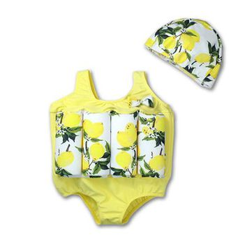 Functional Children's Swimwear One-piece Buoyancy Swimsuit+Cap Removable Stick Design Infant Boys Girls Water Sport Clothing