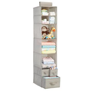 mDesign Chevron Fabric Baby Nursery Closet Organizer for Clothing, Diapers, Blankets, Toys - Hanging, 7 Shelves and 3 Drawers, Taupe/Natural - Walmart.com