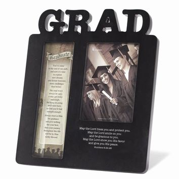 Black MDF with Bible Verse Grad Photo Frame - Perfect Graduation Gift