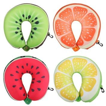Comfy 3D fruit design travel car airplane neck pillow