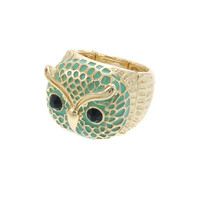 Green  & Gold Plated Stretch Owl Ring