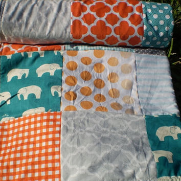 Elephant Baby quilt,teal,grey,orange,chevron,Patchwork crib quilt,baby girl quilt,baby boy bedding,woodland,organic,modern,fleece,newborn