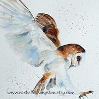 $16.00 Owl painting / Owl PRINT from original by rachellelevingston
