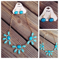 """17"""" Aqua Pearlized Flower Necklace and Earring Set"""