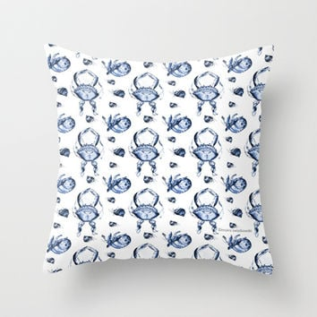 Blue Crab Toile Throw Pillow by Moira Birch Swiatkowski