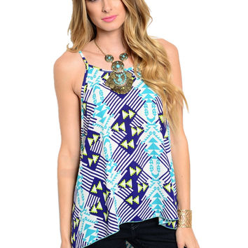 Sleeveless Tribal Print Hi-Low Tank Top