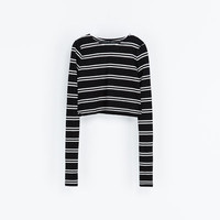 STRIPED CROP T - SHIRT - T - shirts - WOMAN | ZARA United States