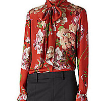 Gucci - Geranium-Print Silk Button-Down Shirt - Saks Fifth Avenue Mobile