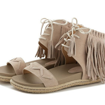 2 colors Lace High-top Sandals,Handmade Women'S Soft Leather Flat Sandals With Personality fringes,Summer Fur Sandals,,Designer Shoes Women