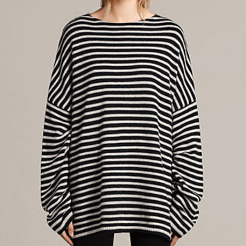 ALLSAINTS US: Womens Marcel Crew Sweater (INK/ECRU WHITE)