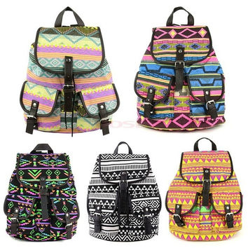 Vintage Campus Bag Canvas Floral School Satchel Rucksack Backpack Colors 18368 = 1745658820