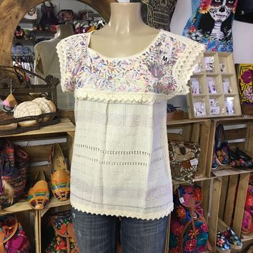 Mexican Oaxaca Blouse Floral Pastels Embroidery Beige