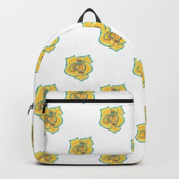 Yellow and Turquoise Rose Backpack by drawingsbylam
