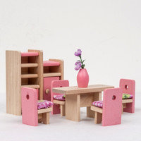 Fashion Wooden Furniture Dolls House Miniature 6 Room Set Learn Toys For Kids Children