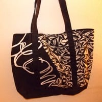 Large Black and White Volcom Purse Tote Bag