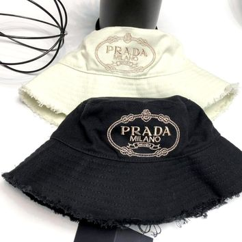 PRADA 2019 new denim canvas UV protection sunshade fisherman hat